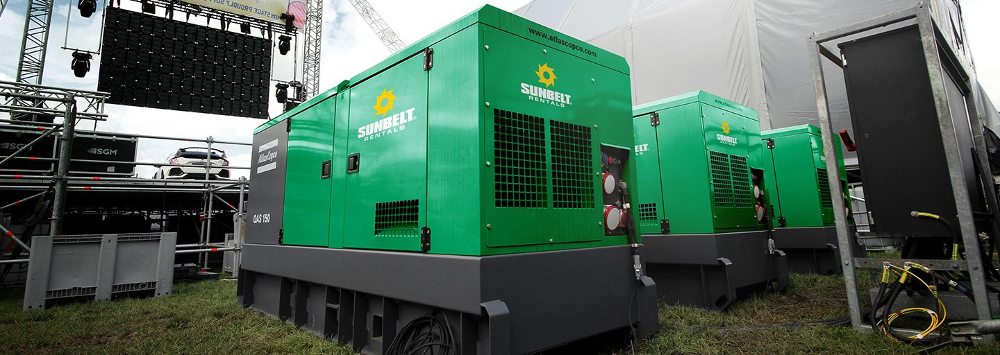 Sunbelt Rentals Generators on hire at CarFest