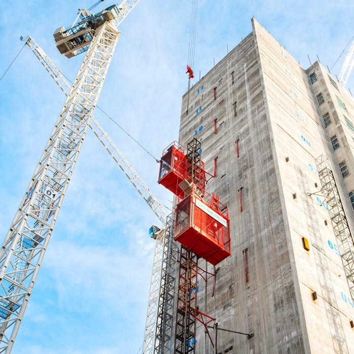 Sunbelt Rentals Hoists in action at Circle Square, Manchester